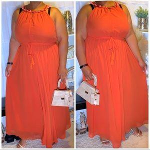 Lane Bryant Orange Chiffon Maxi Dress